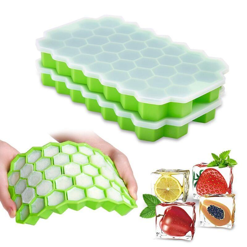 Honeycomb Eiswürfel, 37 Würfel-Silikon-Eis-Würfel-Hersteller-Form mit Deckel für Eiscreme-Party-Whiskey Cocktail Kaltes Getränk LX2788