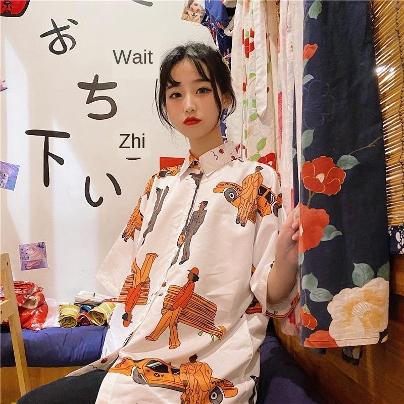 2020 Yaz yeni kısa kollu Kadın ins moda Kore Polo Gömlek gömlek yaka düz tüp gevşek tembel giysi q5jlb