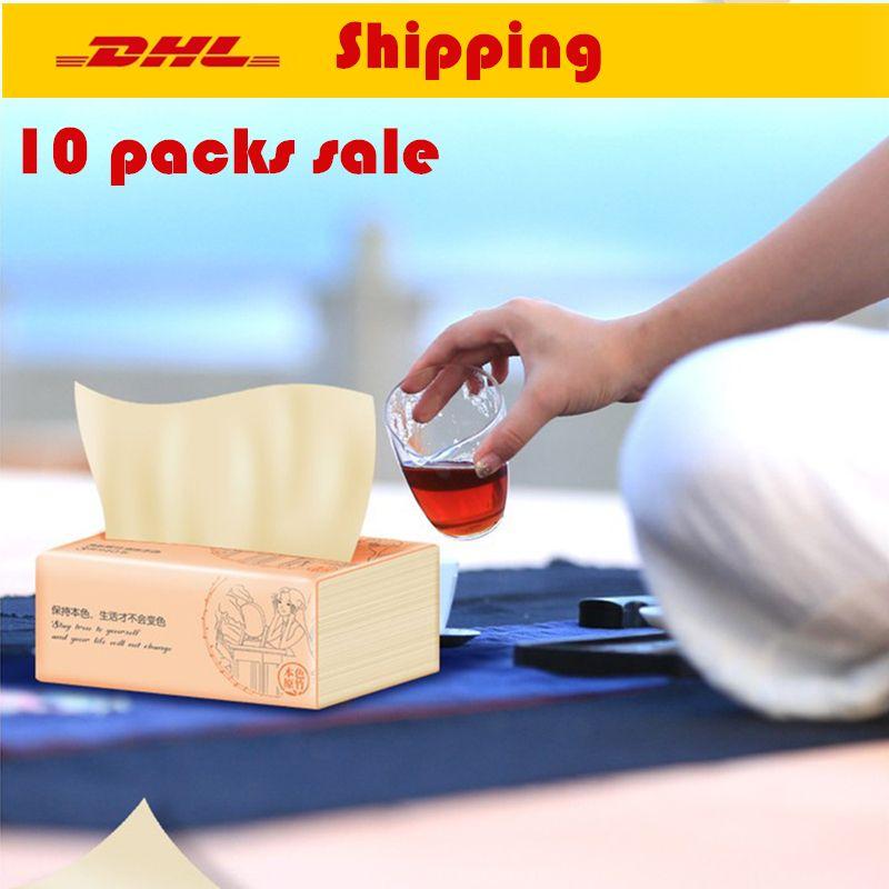 US DHL Multifold Papel toalhas de banho portátil Tissue Tecido Natural Papel de puxar papel de tecido Guardanapos Household Pacote Desenhe Whole Box Atacado