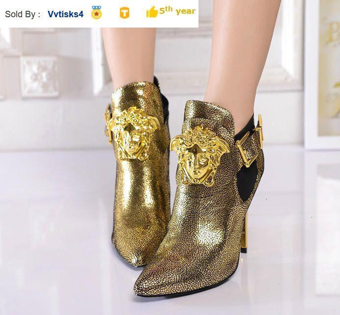 Women's Golden Boots High Heel Sandals Boots Riding Rain Boot BOOTS BOOTIES SNEAKERS Dress Shoes
