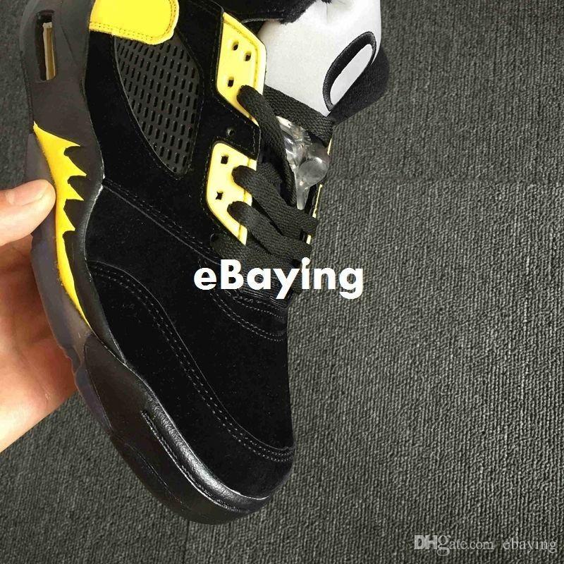Nuovi 5 5s Oregon Ducks Scarpe JumpDucks alta qualità Mens Basketball Shoe Verde Nero Giallo Sport traspirante marca delle scarpe da tennis