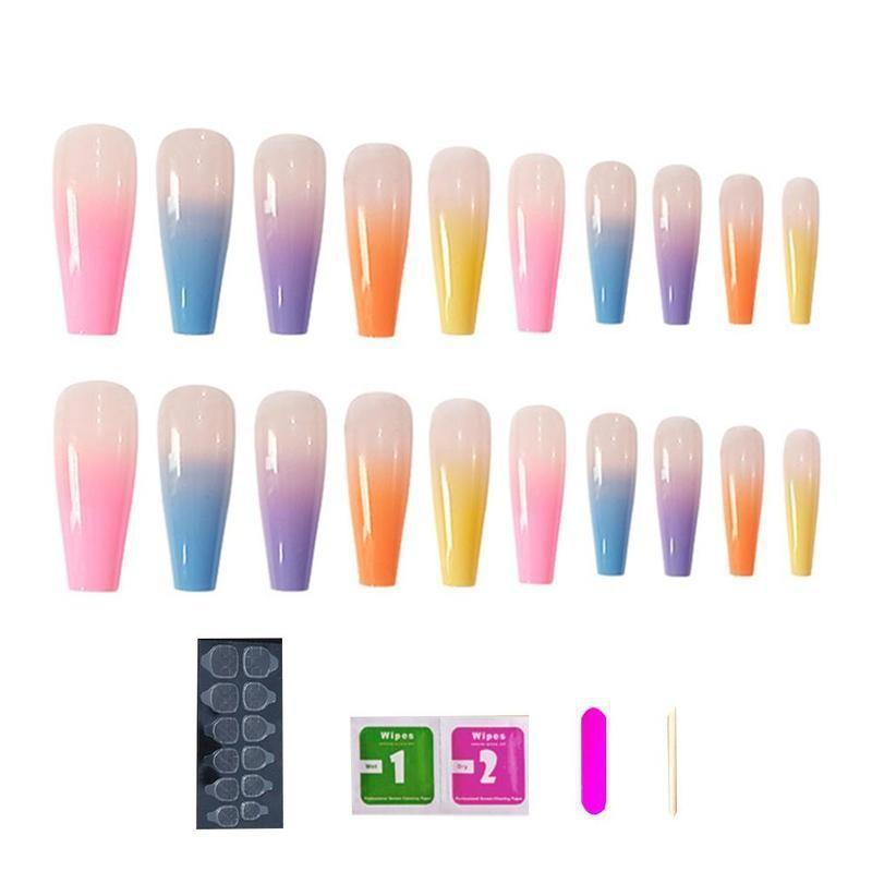 Full Coverage Gradient Color False Nails TIPS Candy Color Trapezoidal False Nails Ballerina FALSE Nail Art KITS