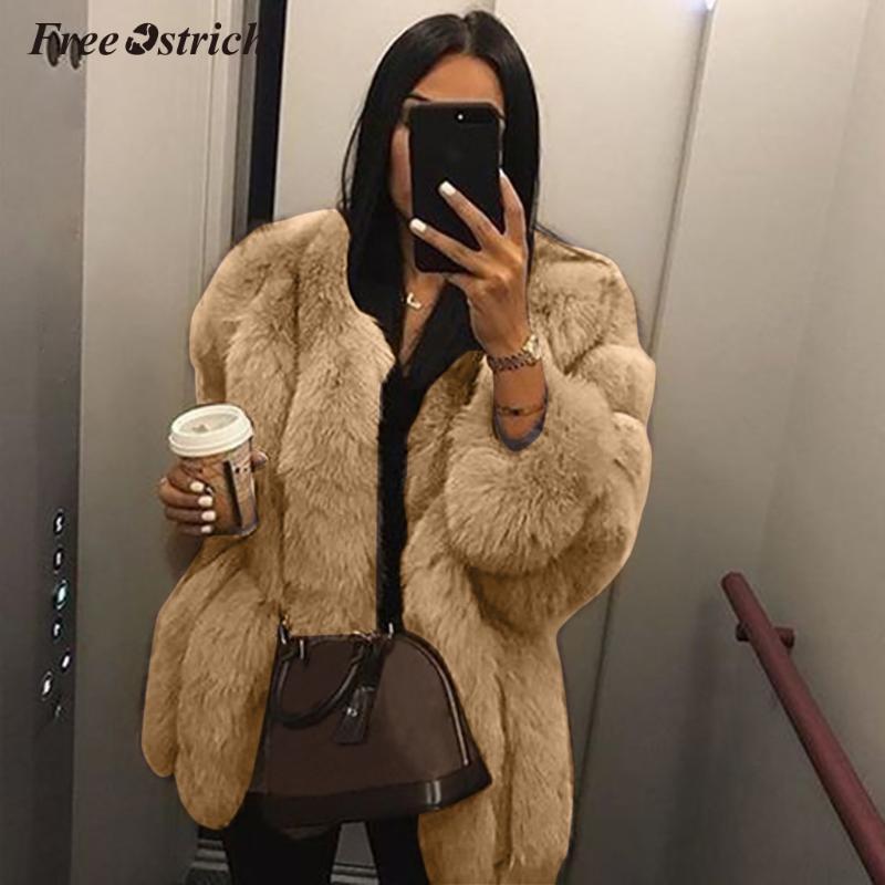 Ücretsiz Devekuşu Artı boyutu Kadınlar Kürk Kış sıcak Coat Soft Fur Ceket Yüksek Kalite Kadınlar Kalın Sahte N30