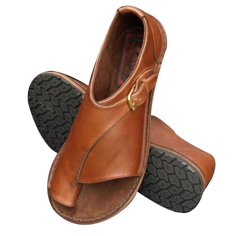 Womens sandalias planas de punta abierta de correa de la hebilla playa zapatos antideslizante y transpirable para el verano NYZ Shop