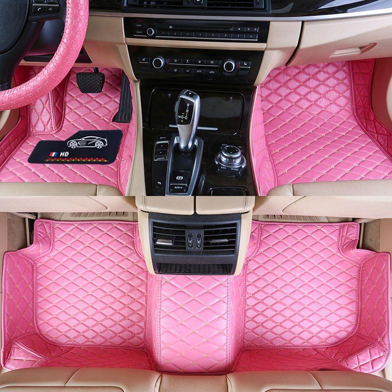 Araca Özel Araç Paspaslar Özgül Su geçirmez PU Deri Araba Modelinin Geniş İçin ECO dostu Materyal ve 3 adet Full olun Minderleri Pink set