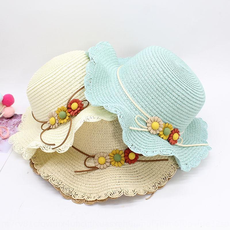 mIF7V protection solaire d'été seau soleil vacances fille seau de paille pêcheur chapeau de paille de style coréen enfants chapeau pêcheur parasol fleur