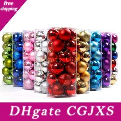 Bolas coloridas de la Navidad Decoraciones Chucherías del partido del árbol Suministros 24pcs ornamento de la boda / Lote 4 cm 6 cm 8 cm Eea662