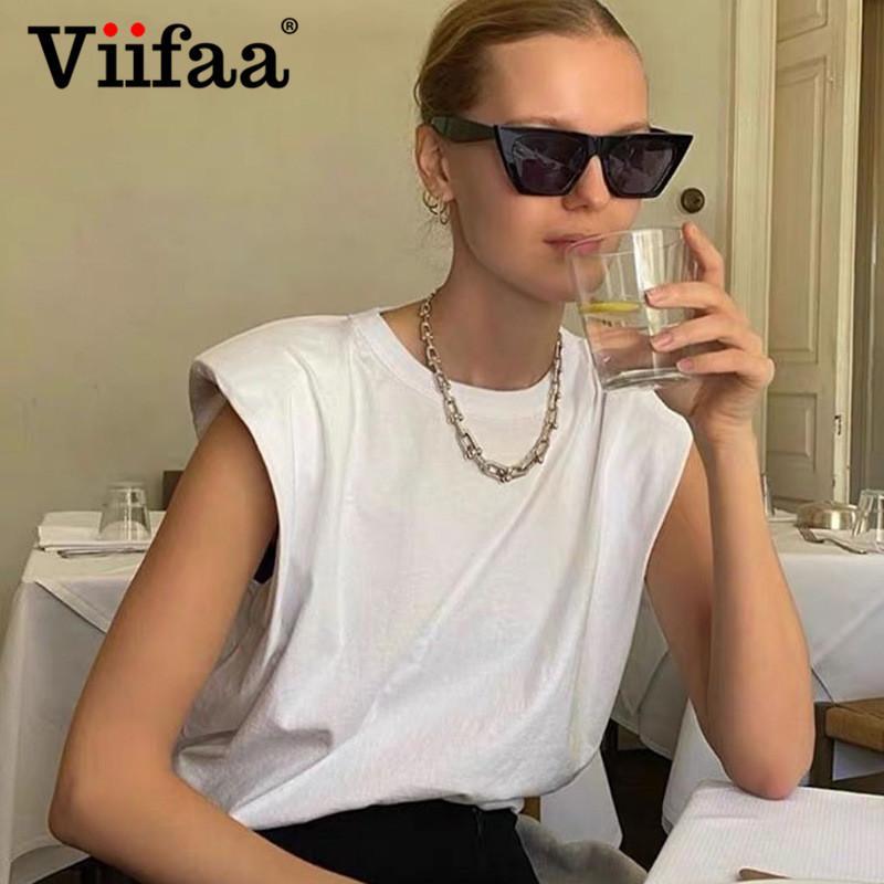 Viifaa Белая футболка с плеча Pad рукавов вокруг шеи Лето Tshirt женщин вскользь Сыпучие офиса Дамы Tops