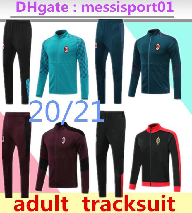 2020 2021 AC Tracksuit 성인 축구 세트 전체 지퍼 생존 20/21 밀라노 재킷 2020/21 Piatek Calhanoglu 축구 Tracksuit
