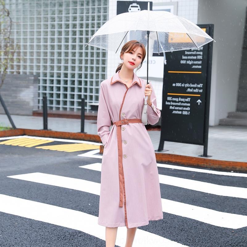 kB8RY Kleid Französisch-Stil elegant 2020 Herbst neue Taille Kleid mit langen Ärmeln mittellange Kinder Kontrastfarbe Spitzen-up YAZMZ