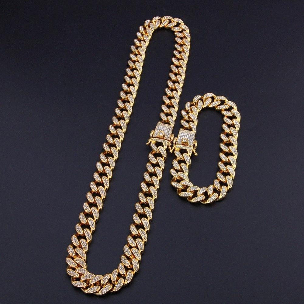 13mm HipHop Bling Takı Erkekler buzlu Out Zincir kolye Altın Gümüş Miami Küba Bağlantı Zincirleri 16-30inches ImuP #