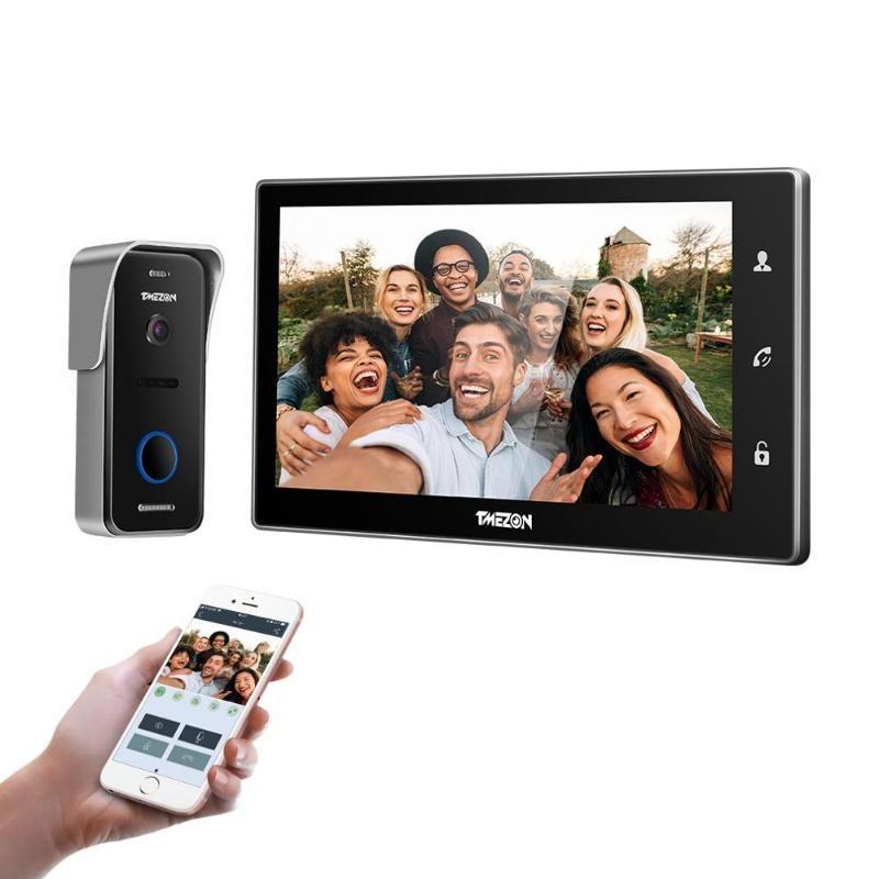 TMEZON 10 polegadas sem fio Wi-Fi inteligente IP Vídeo campainha Sistema Intercom, Monitor de tela 1xTouch com 1x720P Porta Wired câmera do telefone