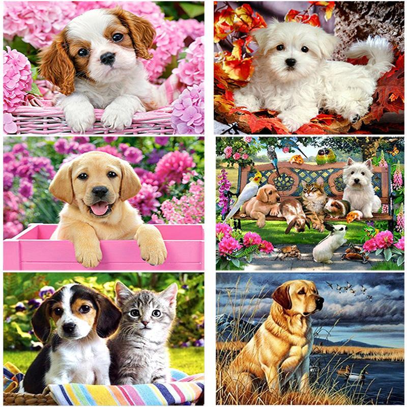 Köpek Çiçek Elmas Nakış Tam Yuvarlak Matkap Hayvan Mozaik Yapay elmas Çapraz Dikiş Ev Dekorasyonu Hediye Boyama DIY 5D Elmas