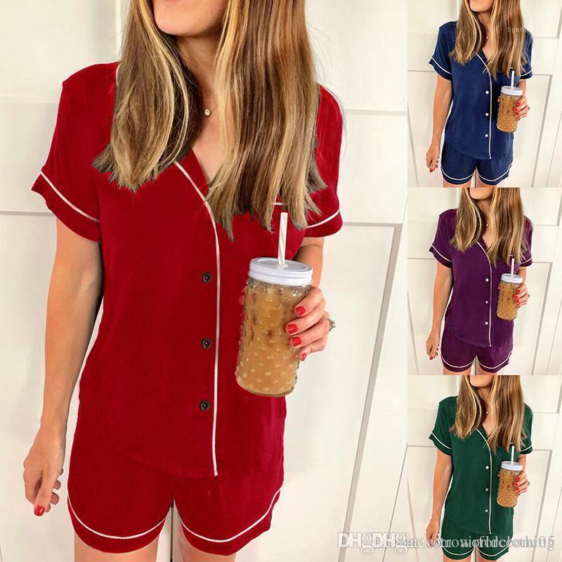 Sleepwear Fashion Solid Color Female Casual Suits Summer Loose Womens Sleepwear Short Sleeve Shorts Ladies 2PCS