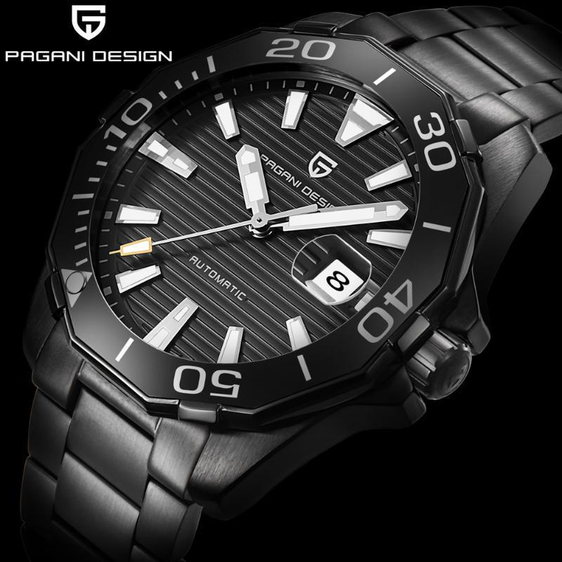 Pagani дизайнерского бренда Мужские автоматические механические часы водонепроницаемый нержавеющей стали спортивные часы Black Business Men Watch