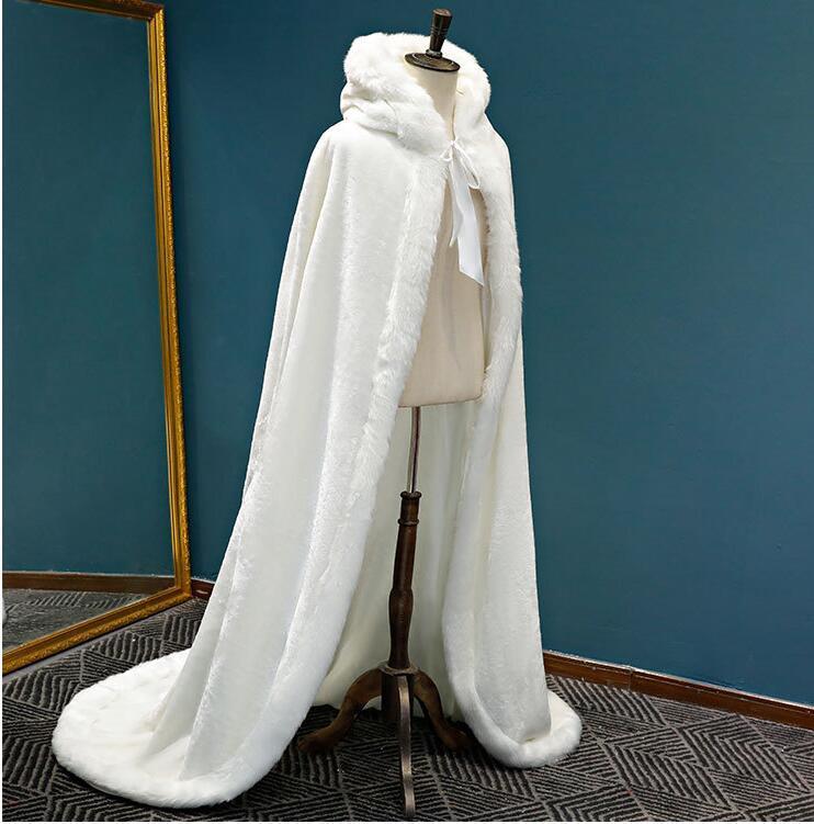 Rosso Bianco incappucciato nuziale Cape Fur Coat Wedding bolero donne inverno lungo Wedding Accessori Cappotti per la festa nuziale delle donne degli involucri