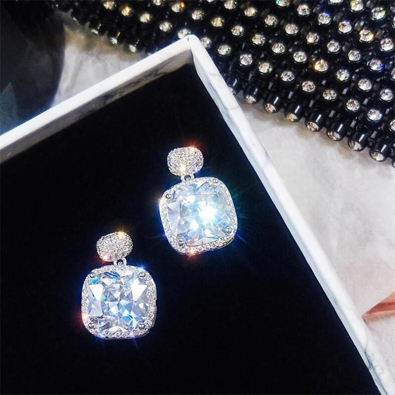 Sweet Cute Stunning Luxury Jewelry 925 Sterling Silver Cushion Shape White Topaz CZ Diamond Gemstones Drop Earring Women Dangle Earring Gift