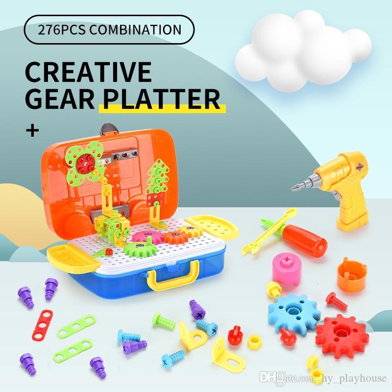 276 개 휴대용 장치 플래터 6in1 창조 기어 장난감 빌딩 블록 DIY 3D 퍼즐 벽돌 모델 학습 교육 디자인 어린이 선물 장난감
