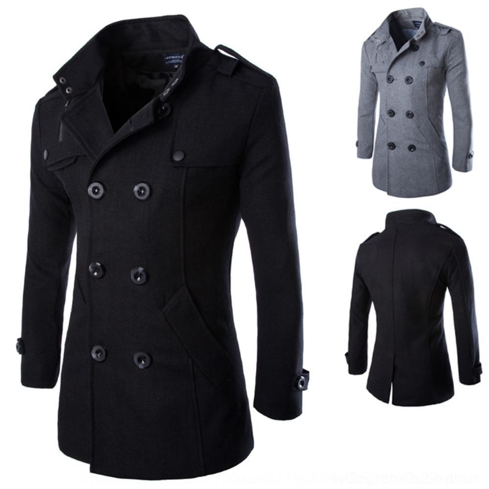 OHZEz pwWTd manteau Automne Hiver couleur unie et mi-longueur laine coupe-vent à double boutonnage manteau en laine col montant épaulette hommes à la mode de