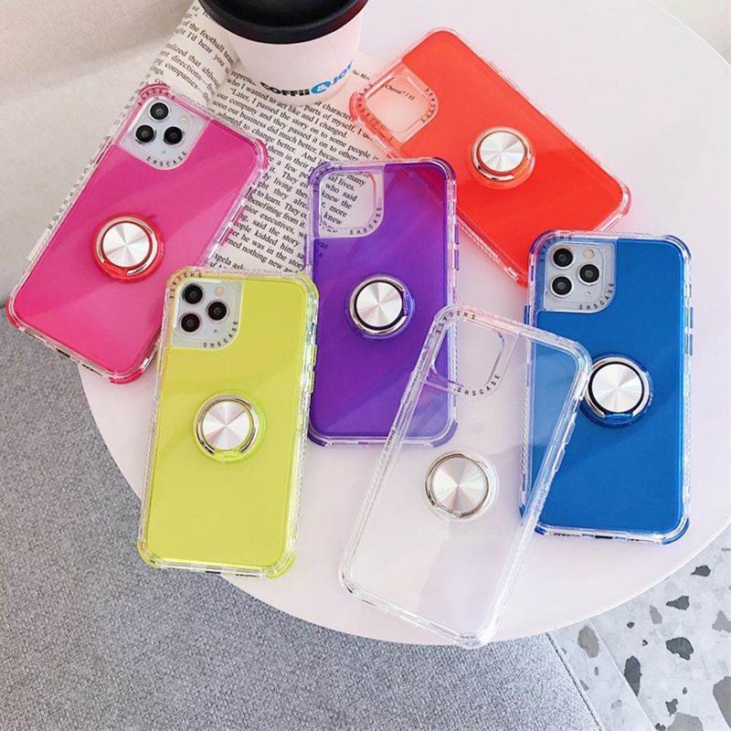 손가락 링 전화 케이스 아이폰 (11) X가 최대 케이스 금박 꽃 실리콘 소프트 커버를 들어 아이폰 XR 7 플러스 8 6 홀더 케이스 스탠드