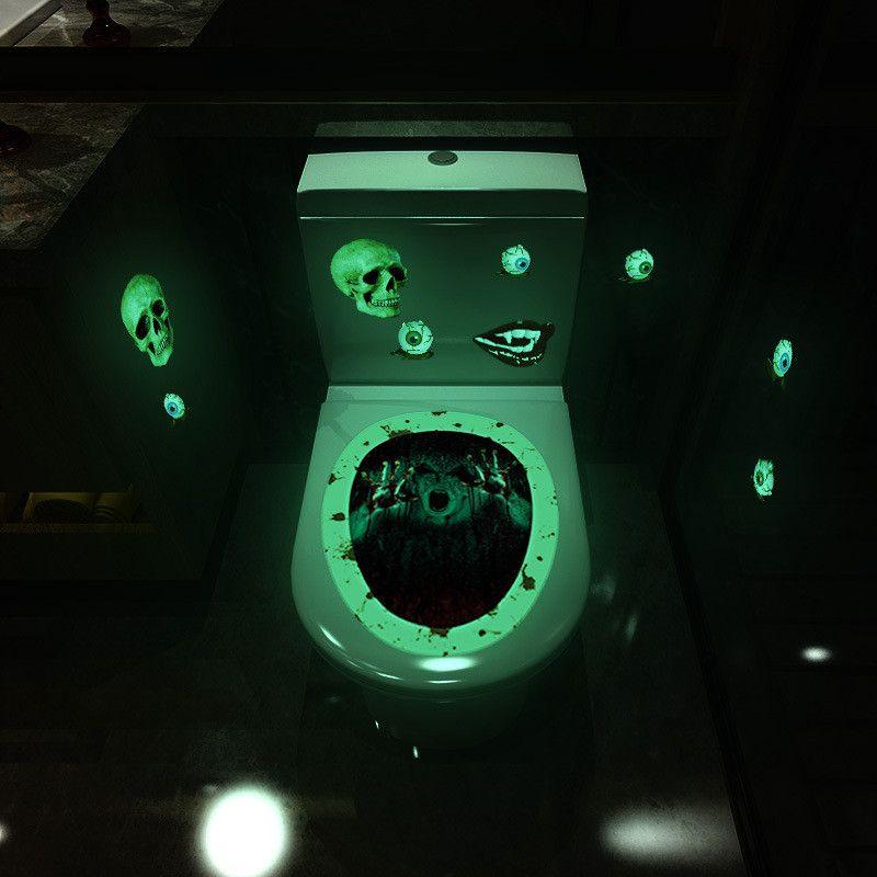 발광 화장실 스티커 공포 해골 마녀 주제 제스처 욕실 변기 스티커 할로윈 화장실 홈 인테리어