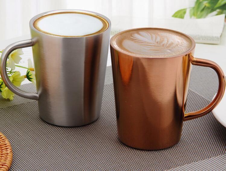 copos 350ml cobre 304 de café de aço inoxidável canecas dupla leite canecas prata e ouro terno cor de bar, café