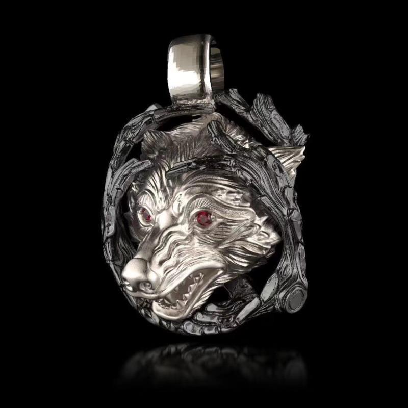 Мужские Мальчики из нержавеющей стали 316L Красного Cz Crystal Eye Wolf ожерелье Gothic Punk Байкер подарок ювелирных изделий