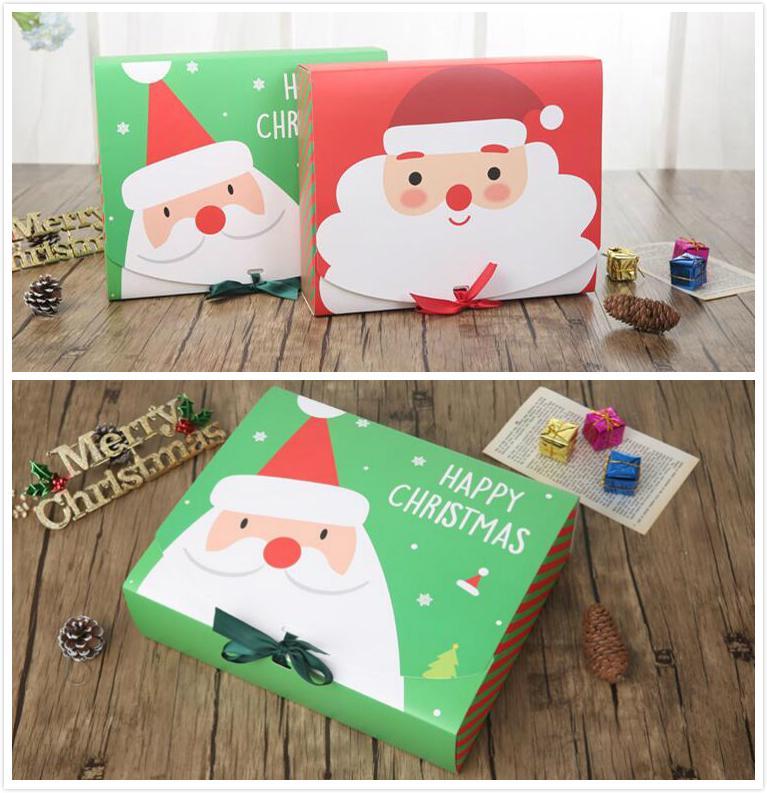Navidad caja de regalo Feliz Navidad regalos fiesta de cumpleaños de Santa Claus caja de galletas macarons Navidad decoración de Navidad con el arco