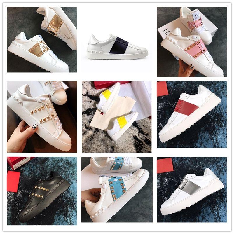 Valentino Shoes Комфорт Повседневная обувь женщина или мужчина Заклепки Квартиры обувь Ткачество кожа Лоскутные Модные Повседневная обувь шипованных Спорт