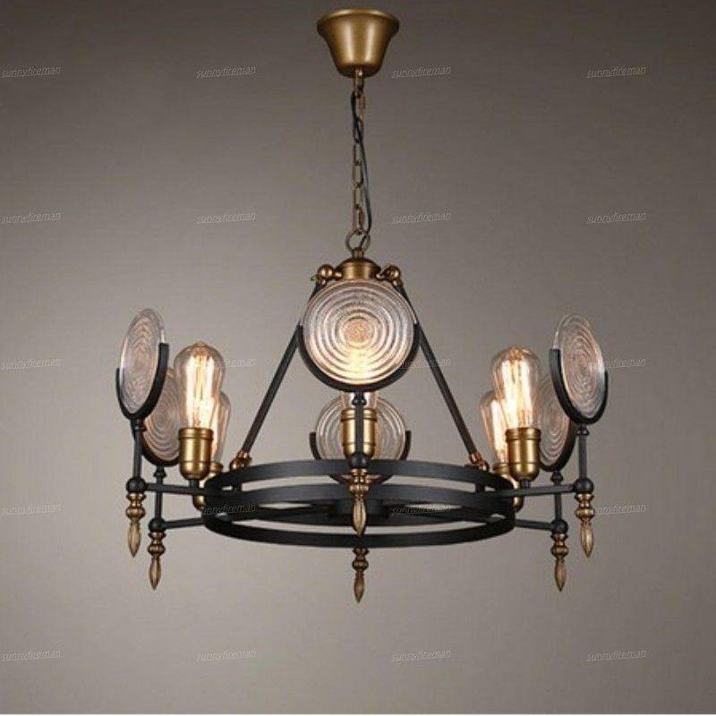 Lâmpadas LED de vidro Modern Chandelier Loft industrial vento E27 6 8 10 Chefes Restaurant Cafe Retro vivo Chandelier Bedroom