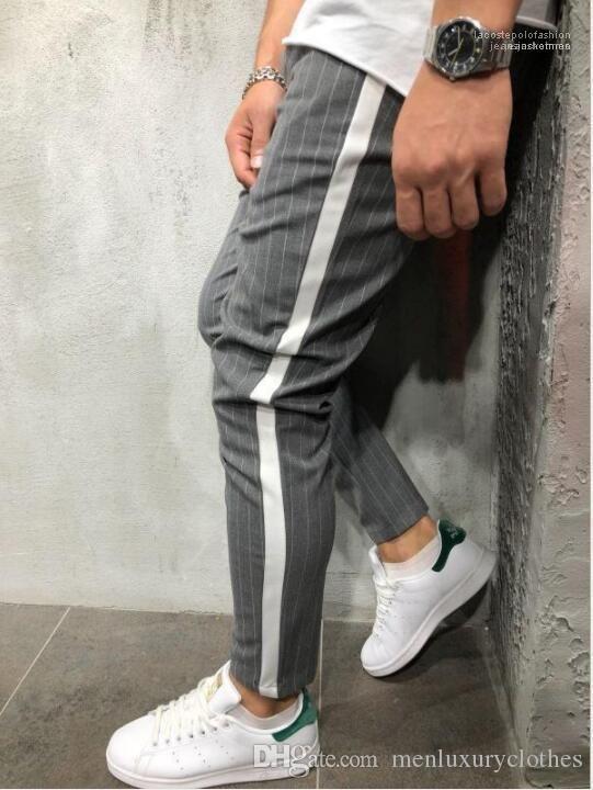 2019 Spring rayé Pantalons simple de Vêtements pour hommes d'été Handsome Designer Pantalons Crayon nouveaux