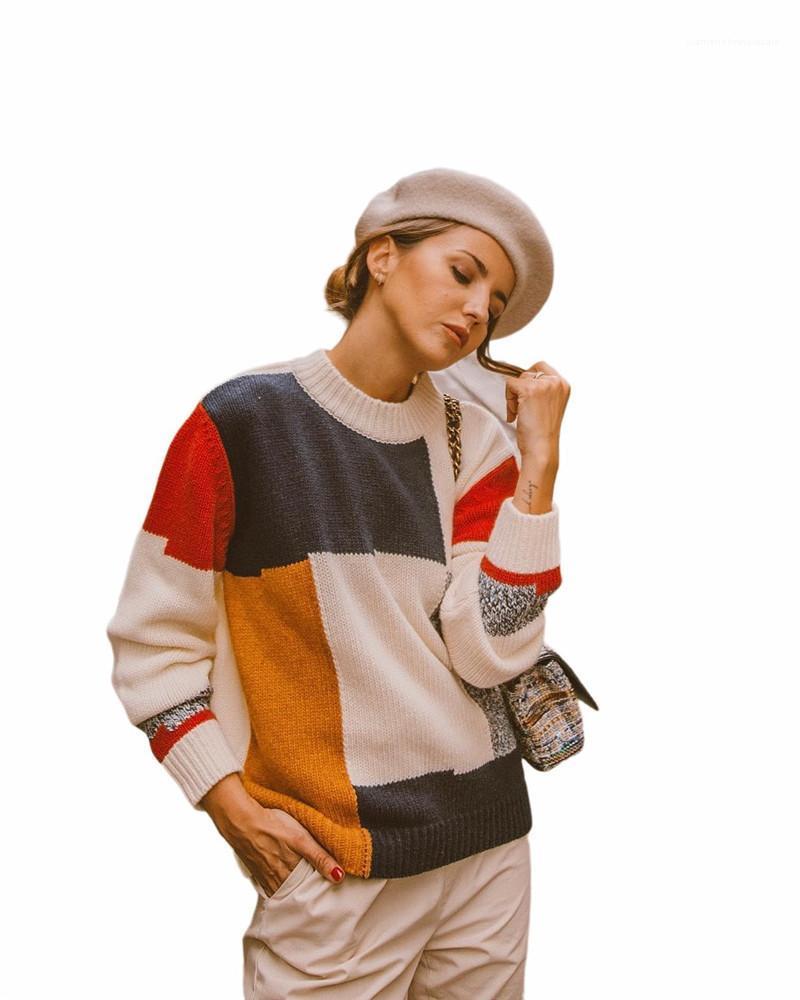 Langarm-O Ansatz Stricken Pullover Tops New Frauen Strickwaren Herbst-Frauen-Designer Pullover Mode Patchwork