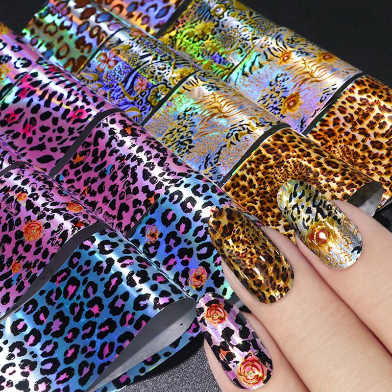 16pcs Leopard Stampa Nail Stickers Decalcomanie Holograph Nail Foils Transfer Slider Paper Mist Design Wraps Set Arredamento manicure