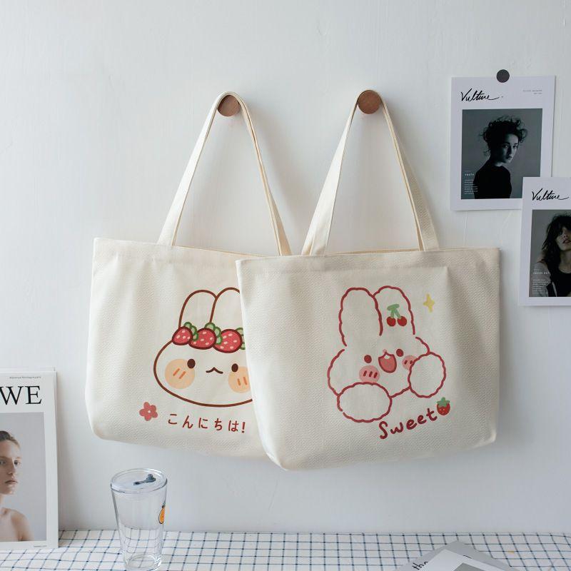 Tuval çantası kadın Kore versiyonu ins omuz çantası öğrenci sevimli Japon sanat eğlence portatif bez toptan