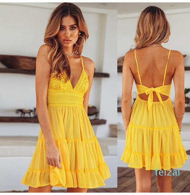 Spaghetti Strap maniche modo dei vestiti vendita calda estate White Lace Halter delle donne vestito sexy Backless Beach casuale Mini Sundress S-XL
