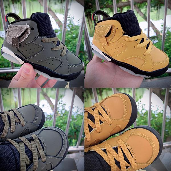 Yeni Doğan Bebek ters Swoosh Sneakers Travis Scott Toddlers ayakkabı Küçük Çocuklar Yenidoğan Basketbol Ayakkabıları Bebek 1 büyük oğlan Kız sneaker