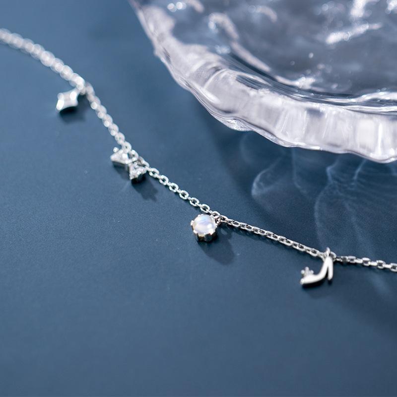 на высоких каблуках Лох S925 серебро браслет женщин алмазов высокого небольшой туфли на высоком каблуке битнику Подвеска лук bHAiY пятки подвеска ножной JE L48qk