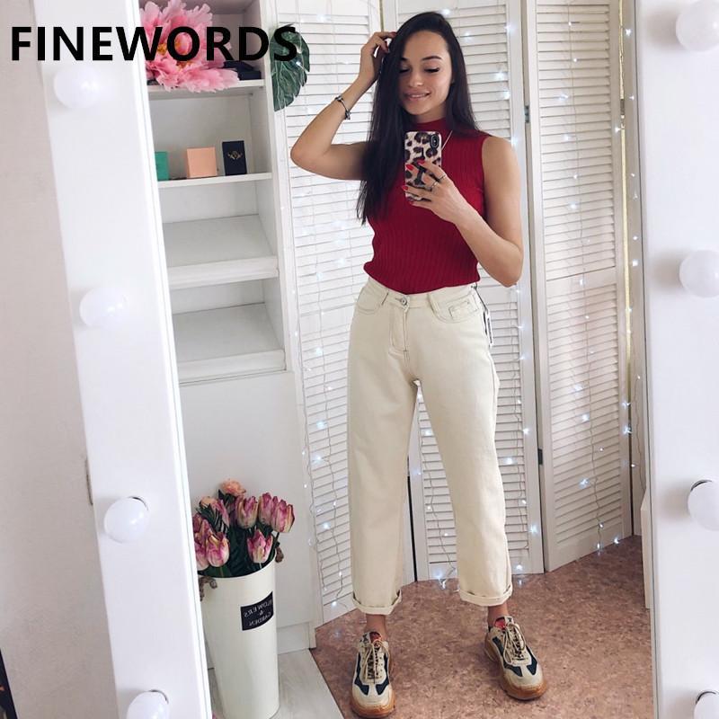 FINEWORDS Autumn Korean Loose Harem Boyfriend Jeans For Women Plus Size Beige White Jeans Vintage Casual Wide Leg Denim Pants CX200821