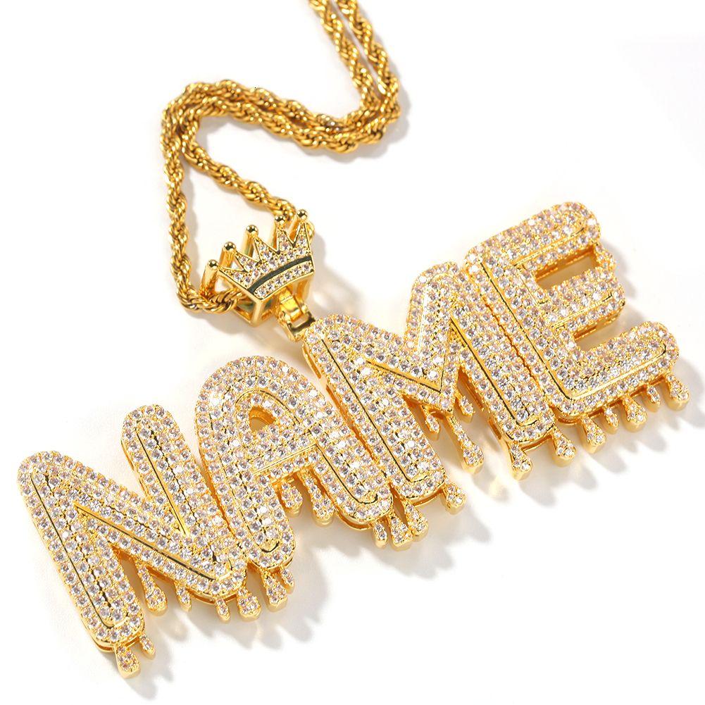 Colar conhecida Homens Personalizar Drip bolha Intial Carta Pingente de Prata Rose ouro presente Comissão Jóias Cadeia Rope cubana