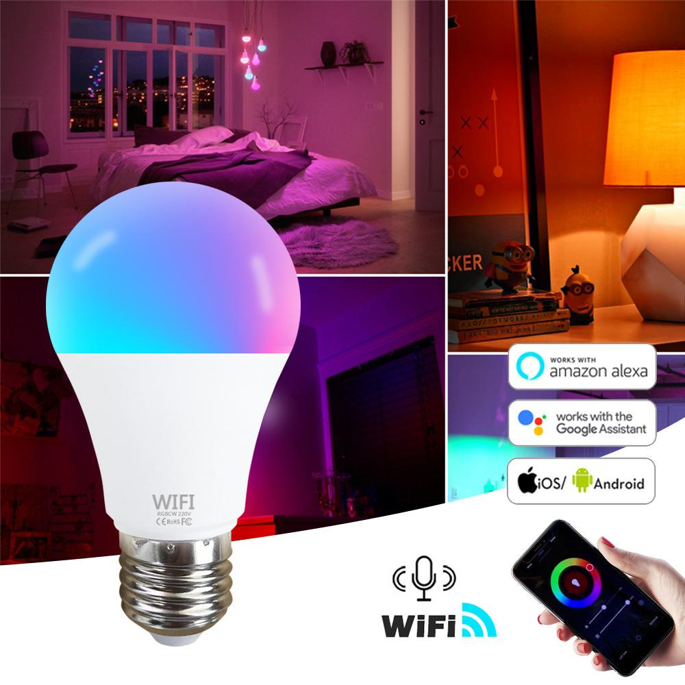 15W WiFi Smart Light Bombilla B22 E27 LED RGB Lámpara Trabajo con Alexa / Google Home 85-265V RGB + White Dimmable Temporizador Función Magic Bulb