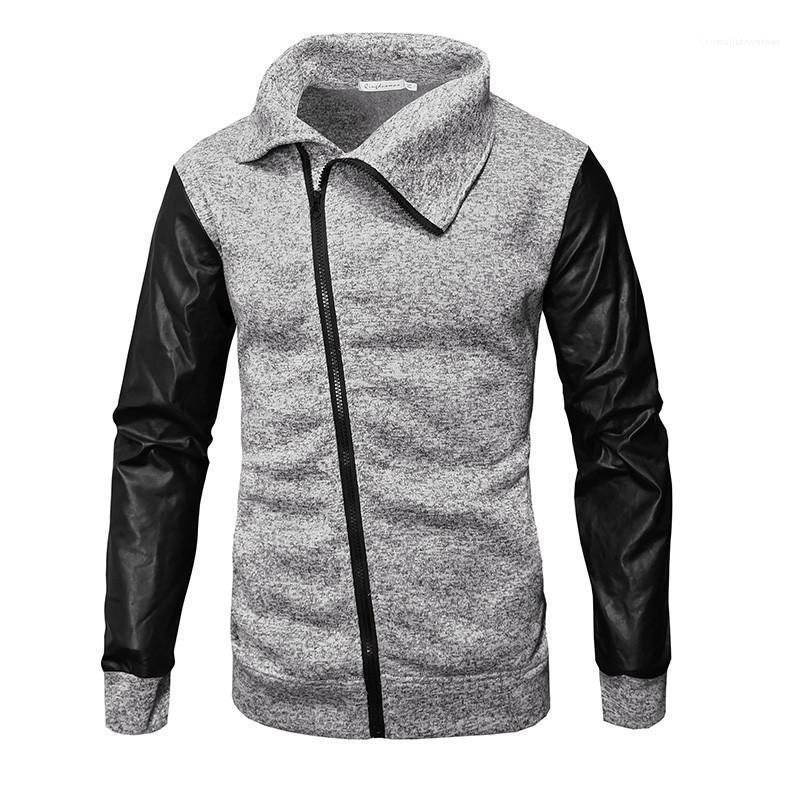 Chaqueta de primavera y otoño Homme capa ocasional de la chaqueta de la cremallera inclinado diseñador de moda para hombre con paneles de manga larga