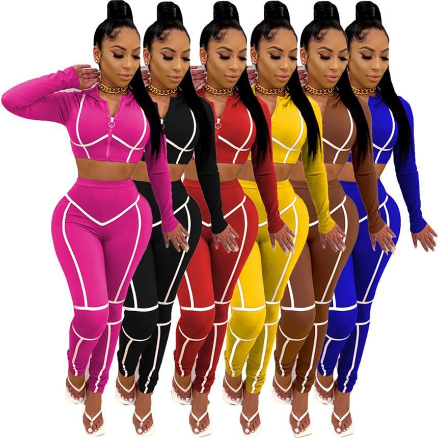 Le donne rivestite Sweatsuit casuali Outfits giacca 2 pezzo set top crop manica lunga + leggings cadono abbigliamento invernale con cappuccio jogger tuta 3716