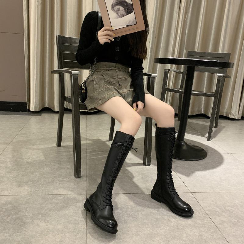 Preto Joelho de comprimento Cavaleiro Botas Mulheres 2020 de Moda de Nova Side Zipper projeto de trabalho Sapatos Mulheres Couro Lace-up Casual botas de montaria