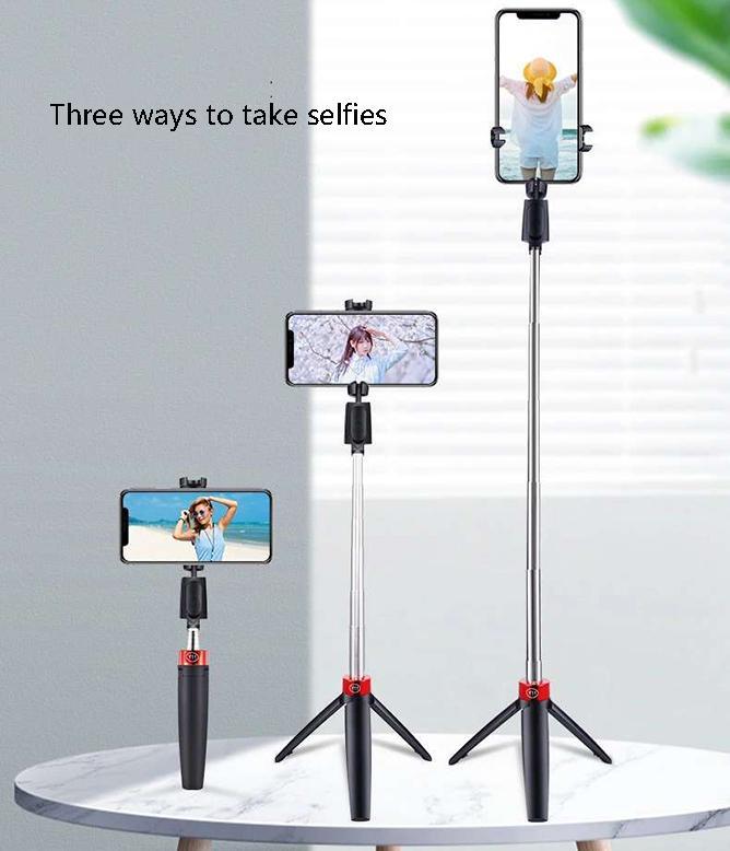 2020 All-in-One Bluetooth selfie vara com tripé plástico liga selfie vara selfie paper telefone smartphone selfie-stick preto cores