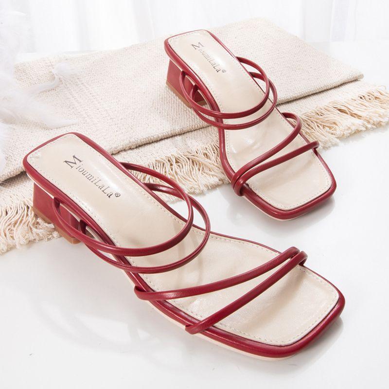 Sandalen Zwei Wege Feste Schmalband Slingback Frauen Dicke High Heels Schuhe Hausschuhe Offene Zeh Slip auf Femmes Sandalias 2021