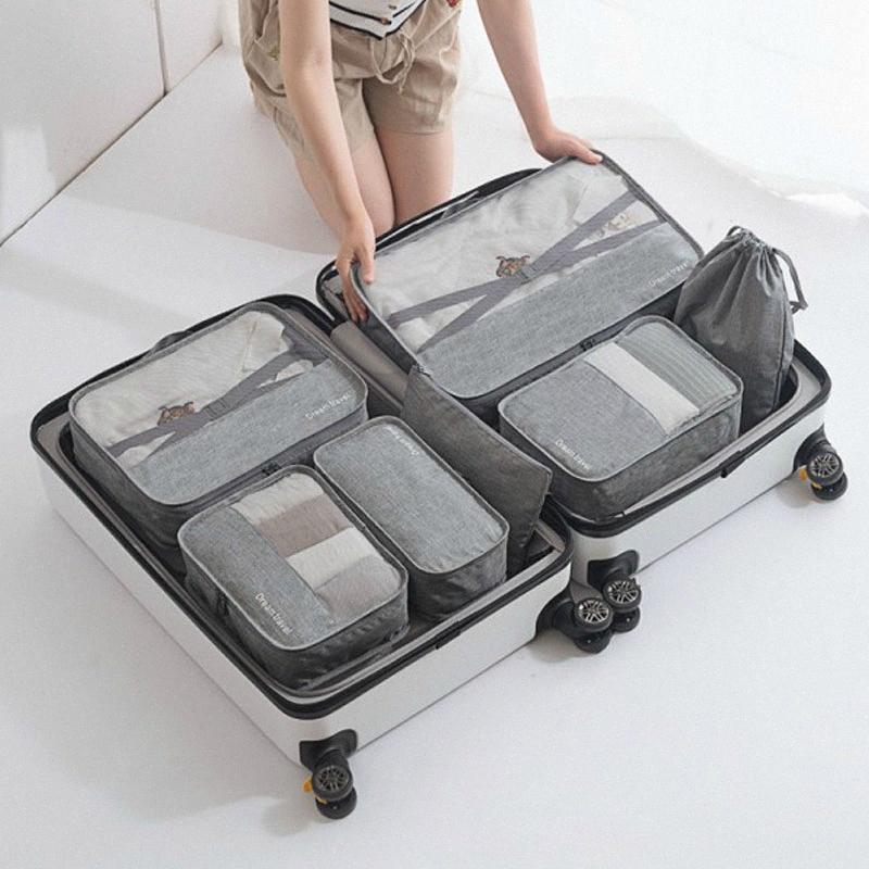 7PCS / set Travel Bag portátil Bagagem organizador para roupa roupa interior da mala de viagem impermeável embalagem Cube Container Tidy Pouch 1sRs #