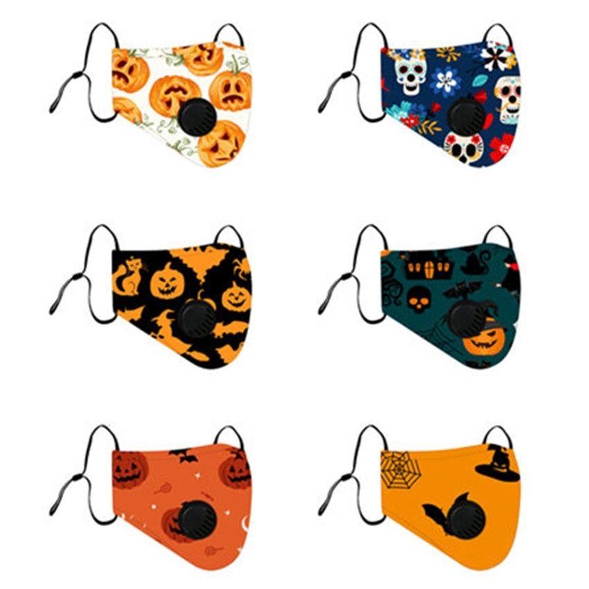 Nueva Halloween 2020 pintado caras de la calabaza de algodón reutilizables diseñador Máscaras válvula de respiración para adultos y niños
