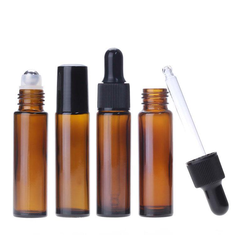 Bottiglie di olio essenziale contagocce 0,34 oz / 10ml bottiglie di vetro con Ambra Contagocce, vuote bottiglie Roller estetica in acciaio inox per Profumo