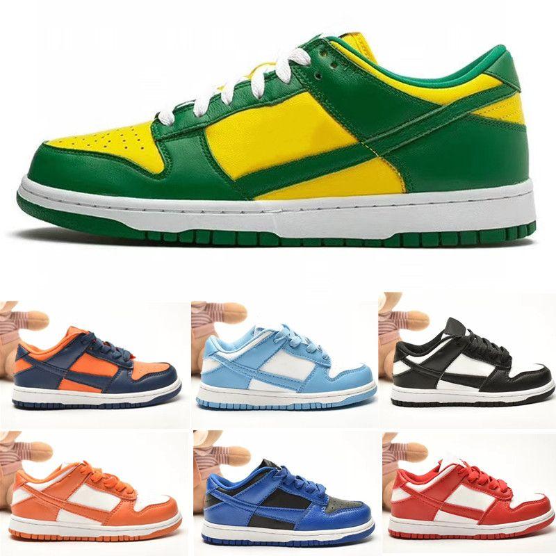 Sb Low Enfants Sneaker Université Chaussures Bleu Blanc-Argent Chaussures mode Planche à roulettes Big petits enfants Garçon Fille Formateurs