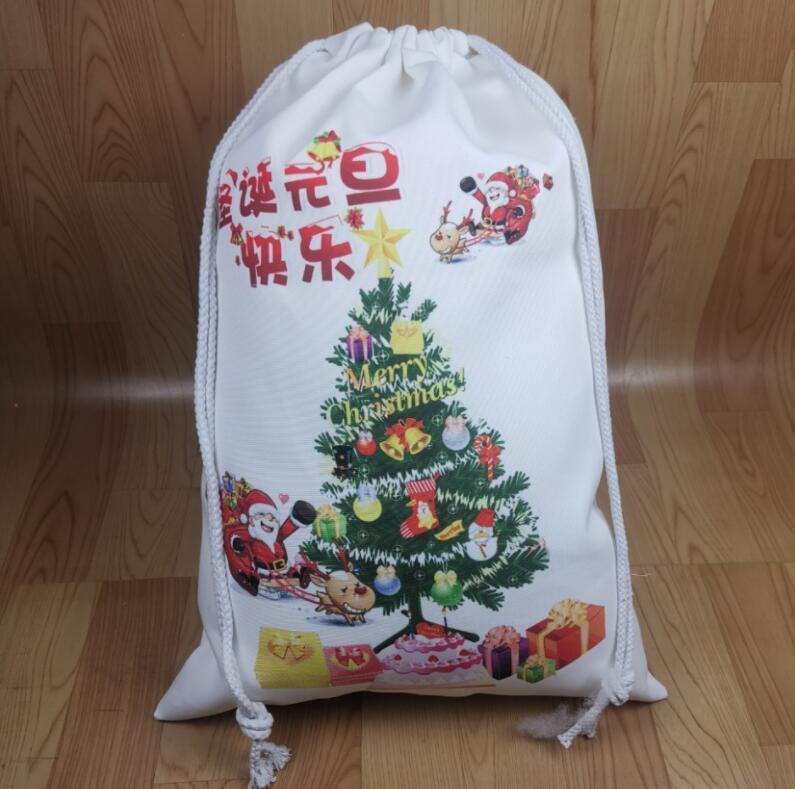En blanco sublimación de Navidad saco del bolso del regalo de Santa Bolsas de gran capacidad con asas de caramelo principal personalizada Festival Decoración LSK1408